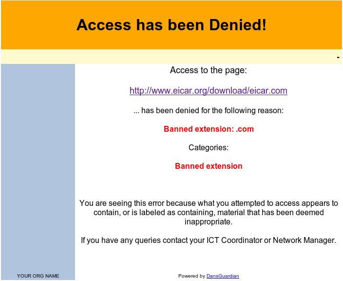 eicar.com blocked